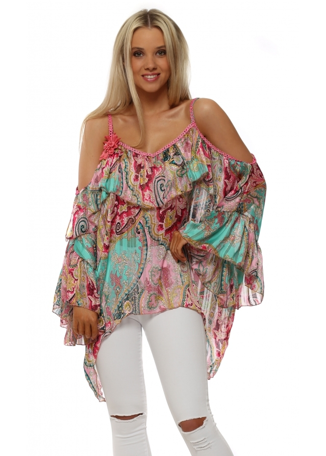 Just M Paris Pink & Green Paisley Cold Shoulder Kaftan Top