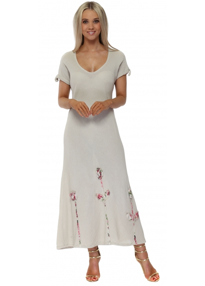 Italian Boutique Beige Linen Rose Maxi Dress