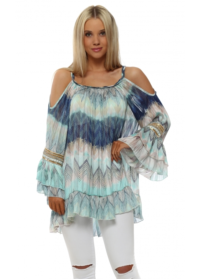 My Story Aqua & Blue Zig Zag Beaded Cold Shoulder Top