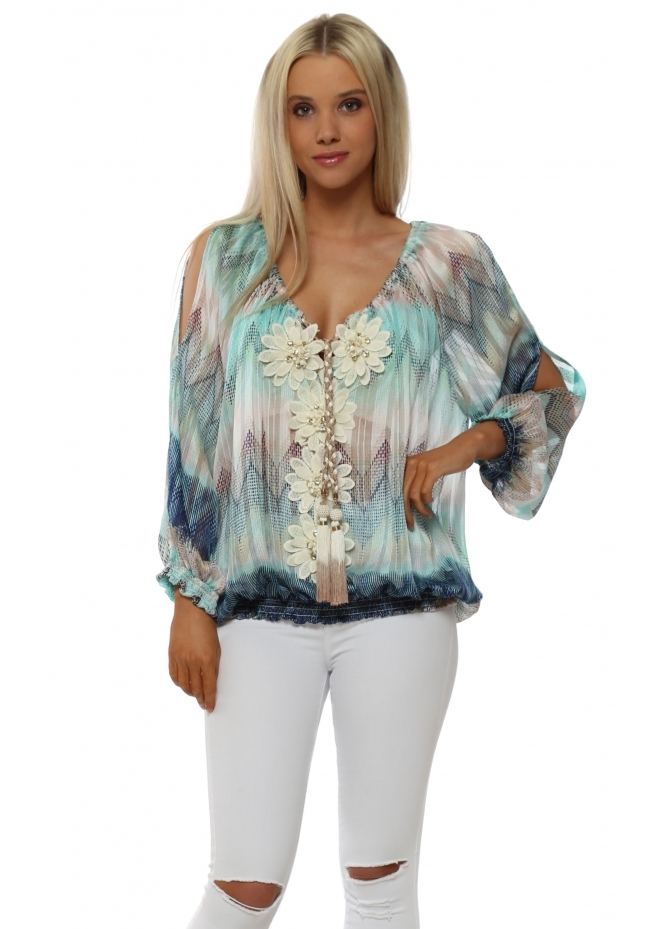 My Story Blue & Aqua Zig Zag Floral Diamante Top