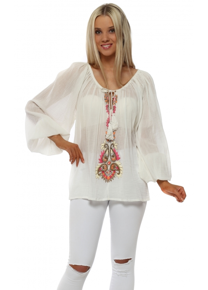 Just M Paris Ivory Crinkled Cotton Beaded Embellished Top