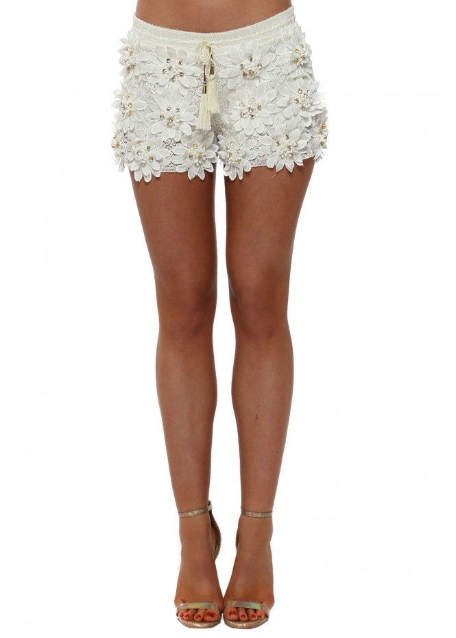 Laurie & Joe White Floral Diamante Shorts