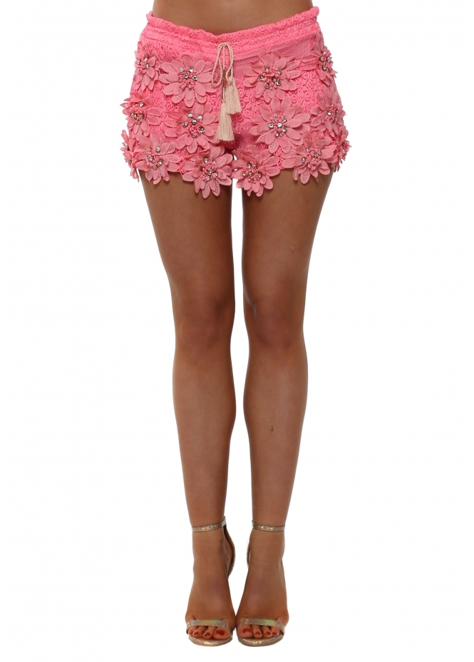 Laurie & Joe Hot Pink Floral Diamante Shorts