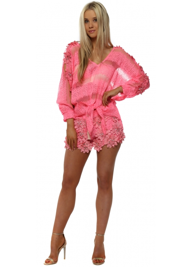 Laurie & Joe Hot Pink Floral Diamante Shorts & Top Set