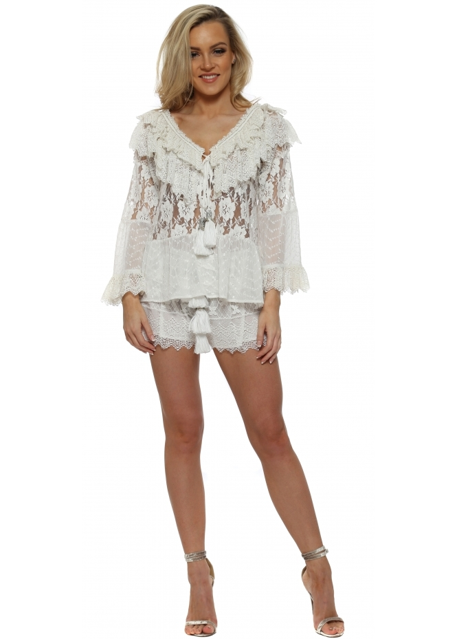 Laurie & Joe White Lace & Tassle Shorts & Top Set