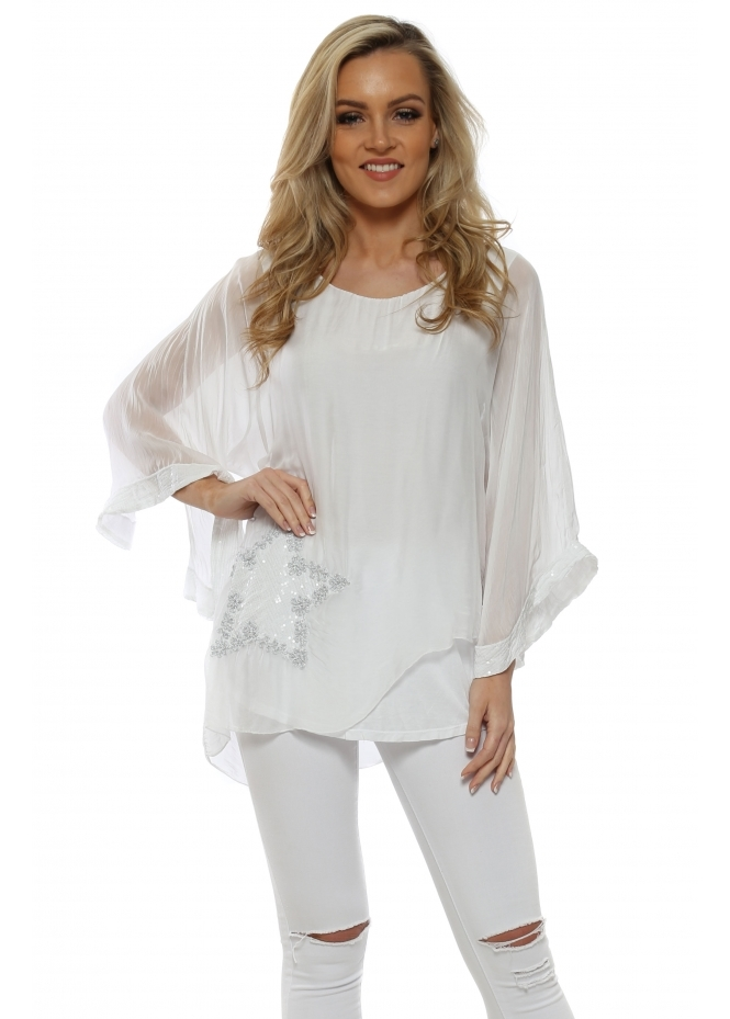 Italian Boutique White Silk Sequinned Star Asymmetric Top