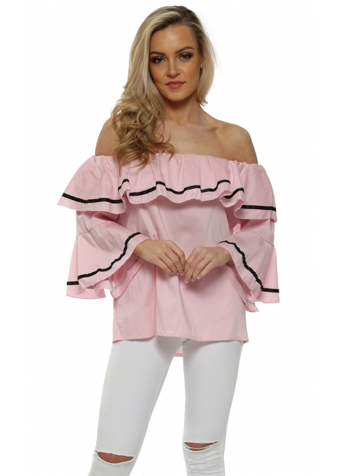 French Boutique Baby Pink Fluted Sleeve Off The Shoulder Top