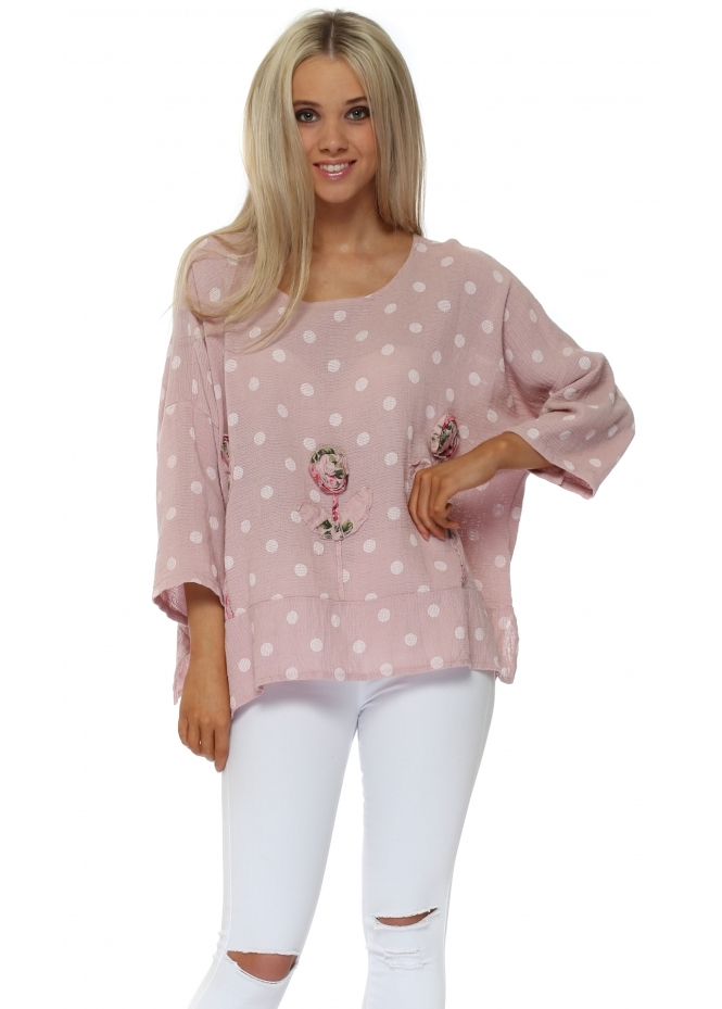 Italian Boutique Pink Polka Dot Linen Rose Top