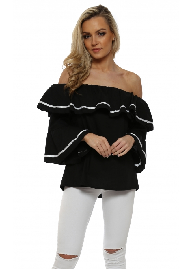 French Boutique Black Fluted Sleeve Off The Shoulder Top