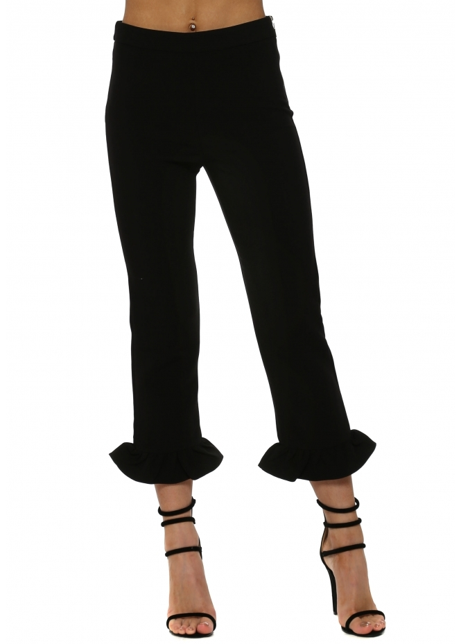 Ladies Fril Hem Cropped Black Trousers