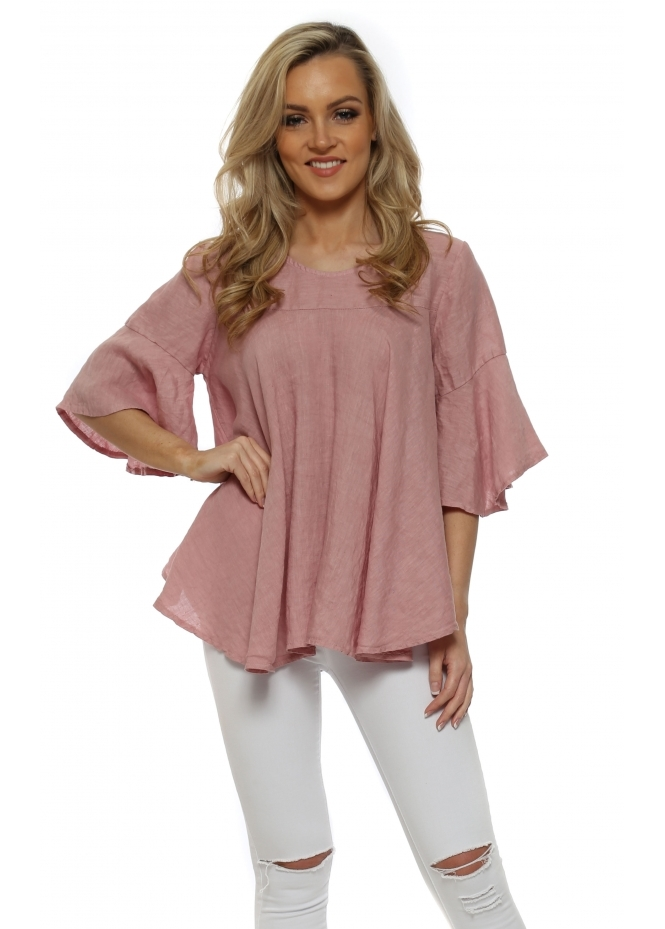 Made In Italy Dusky Pink Linen Flared Sleeve Baggy Top