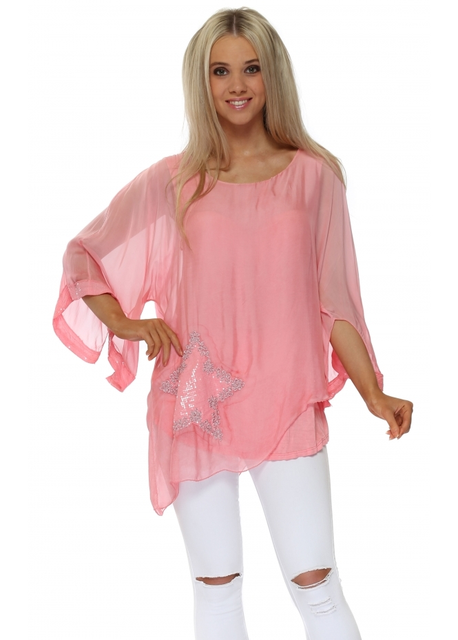 Italian Boutique Peach Silk Sequinned Star Asymmetric Top