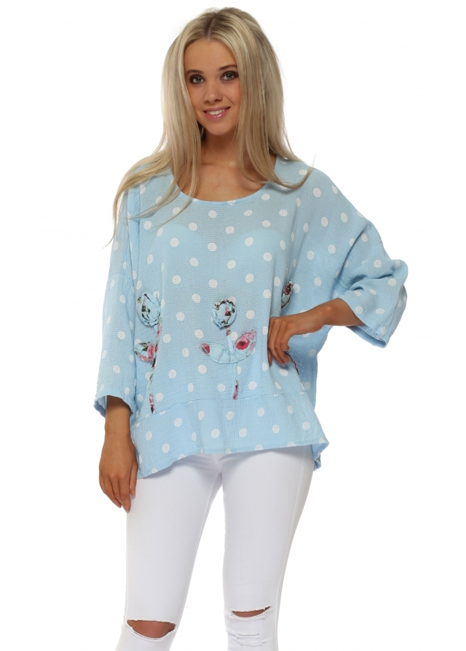 Italian Boutique Blue Polka Dot Linen Rose Top