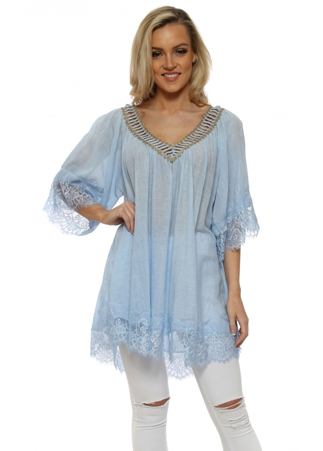 French Boutique Baby Blue Cotton Lace Trimmed Kaftan Top