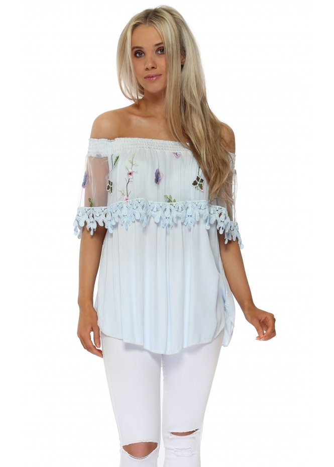 Pinka Baby Blue Floral Embroidered Bardot Top