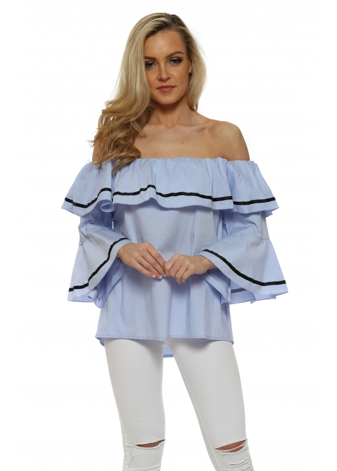 French Boutique Baby Blue Fluted Sleeve Off The Shoulder Top