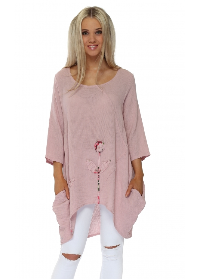 Italian Boutique Dusky Pink Rose Detail Dip Sides Tunic Top