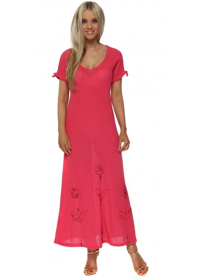 Italian Boutique Raspberry Pink Linen Rose Maxi Dress