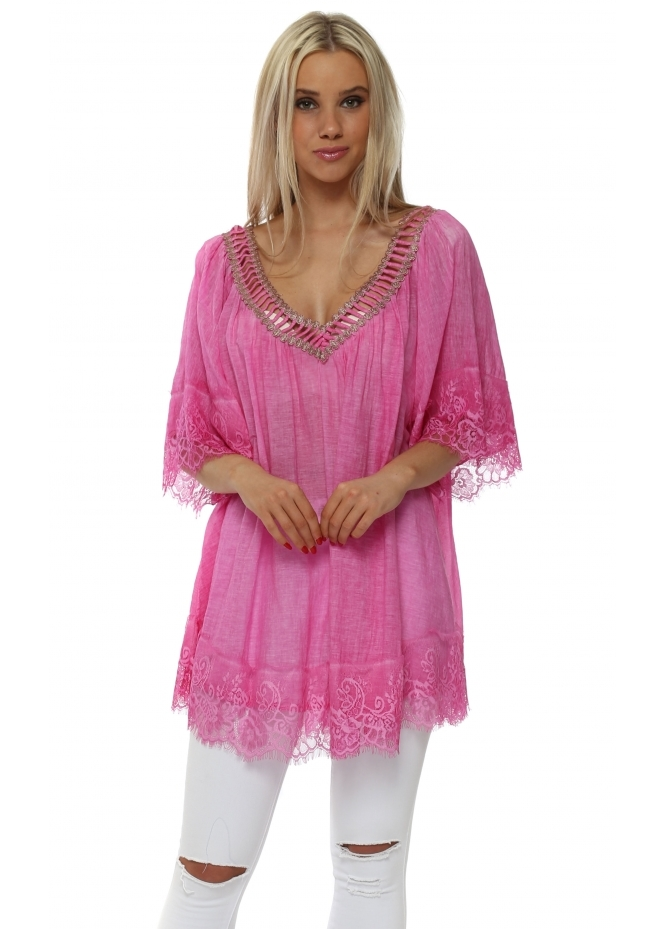 French Boutique Hot Pink Cotton Lace Trimmed Kaftan Top