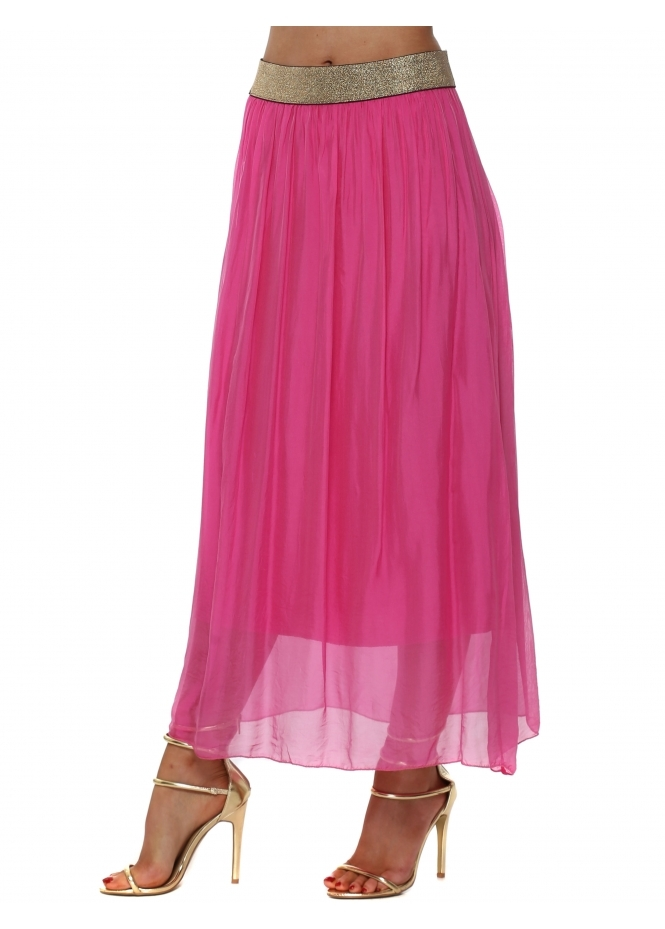 French Boutique Hot Pink Silk Maxi Skirt With Shimmer Waist