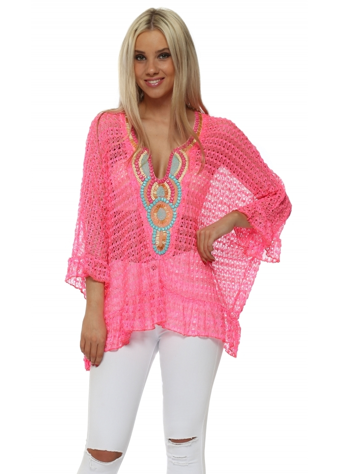 Just M Paris Volant Hot Pink Crochet Lace Beaded Top