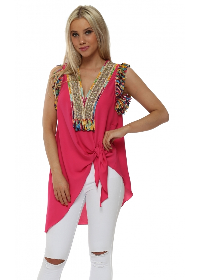 Briefly Braided Tassels Pink Sleeveless Tie Top