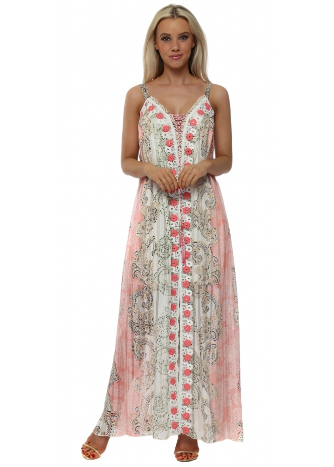 Laurie & Joe Pink & Mocha Print Floral Panel Maxi Dress