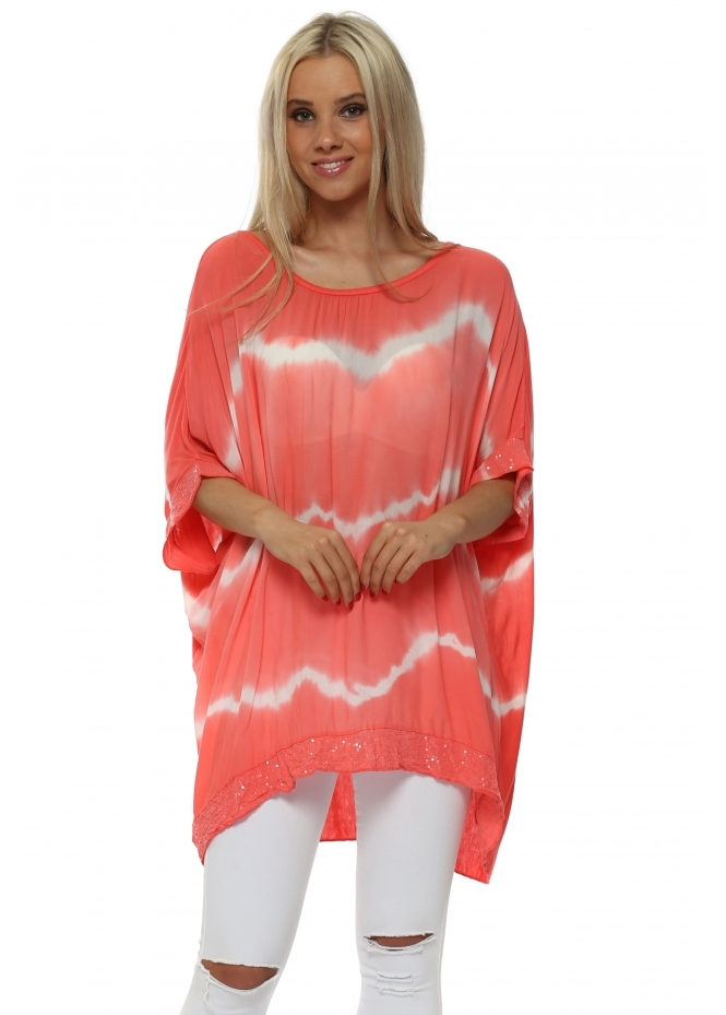 Italian Boutique Coral & White Tie Dye Sequinned Top