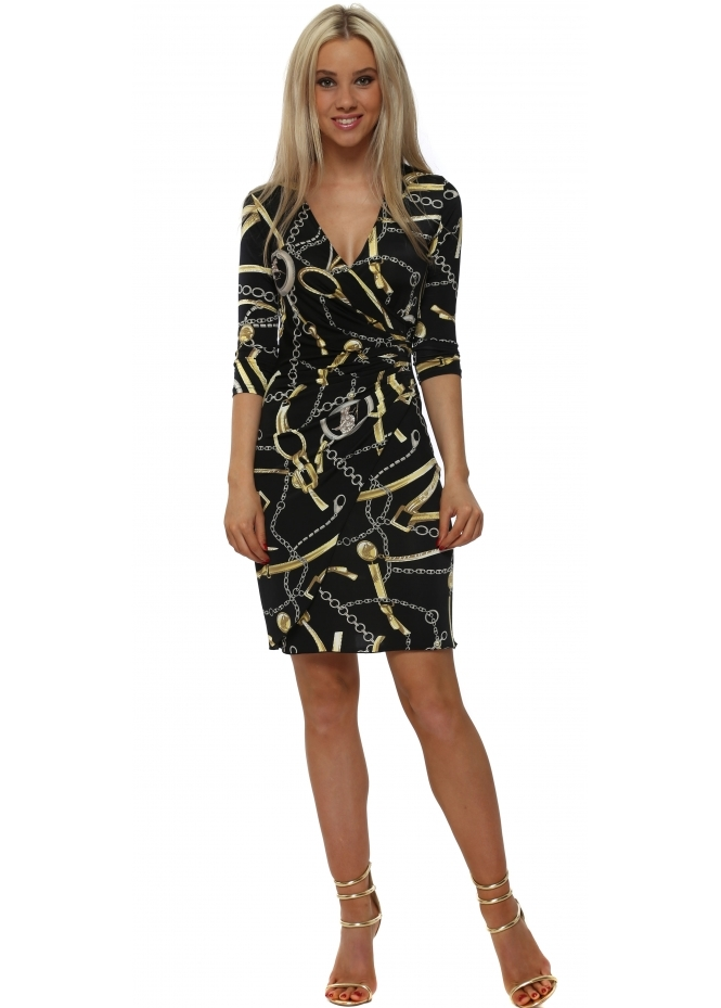 Lonkel Black & Gold Chain Print Wrap Dress