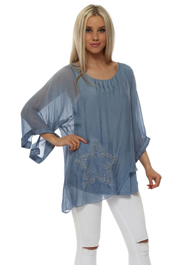 Italian Boutique Denim Blue Silk Sequinned Star Asymmetric Top