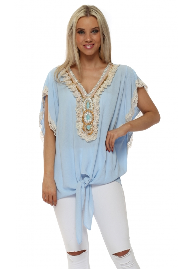 Briefly Blue Frilled Lace Beaded Tie Top