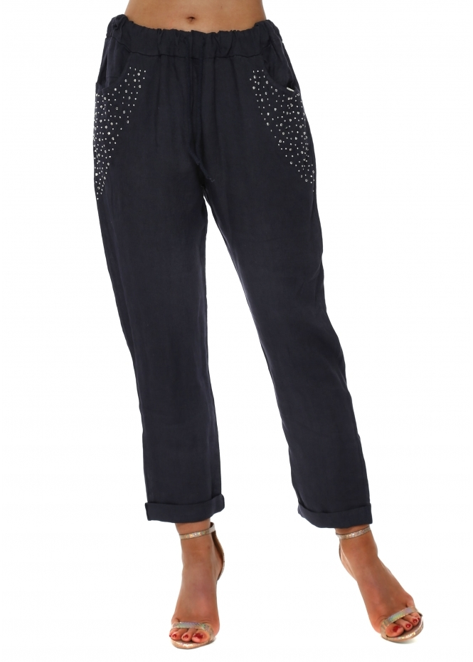 French Boutique Navy Linen Silver Studded Pocket Trousers
