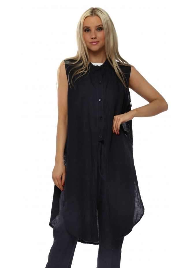 French Boutique Navy Blue Linen Ladder Sleeveless Shirt