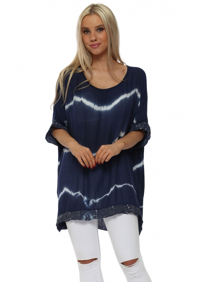 Italian Boutique Navy & White Tie Dye Sequinned Top