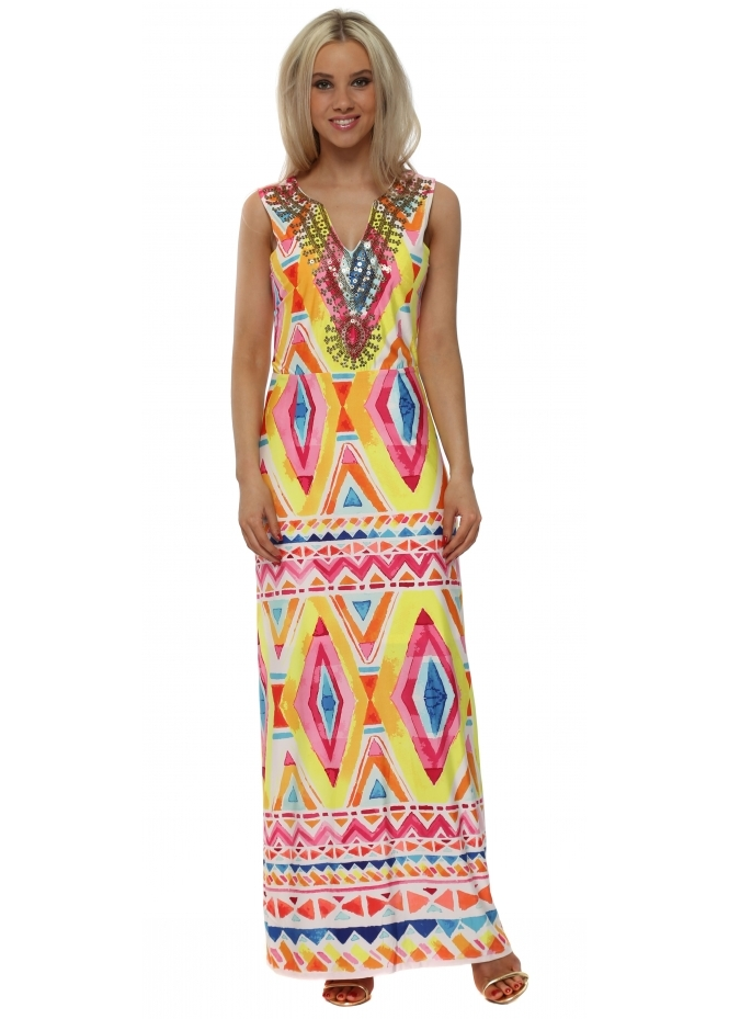 K-Design Neon Aztec Print Sequinned Neckline Maxi Dress