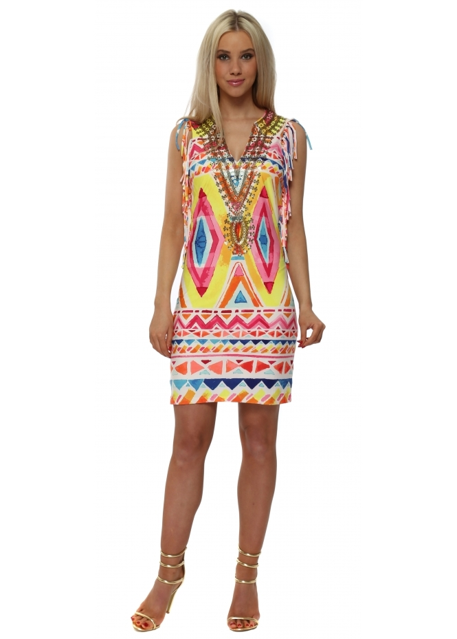 K-Design Neon Aztec Print Sequinned Neckline Tassel Dress