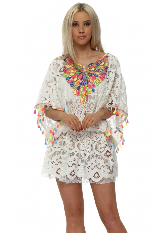 Laurie & Joe White Lace Rainbow Peacock Embellished Kaftan