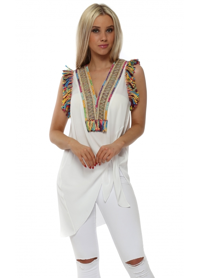 Briefly Braided Tassels White Sleeveless Tie Top