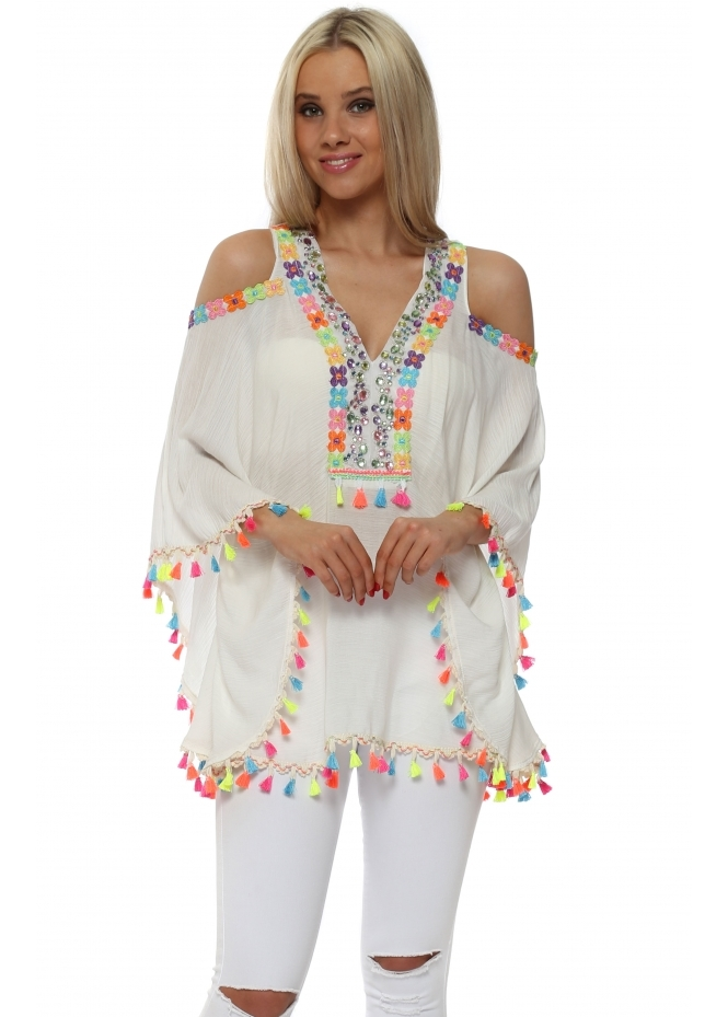 Briefly Cold Shoulder Rainbow Jewelled Tassel Kaftan Top