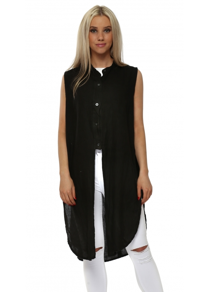 French Boutique Black Linen Ladder Sleeveless Shirt