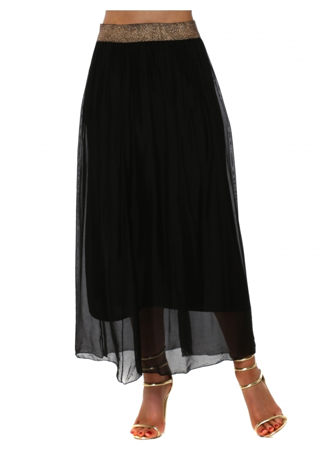 French Boutique Black Silk Maxi Skirt With Shimmer Waist