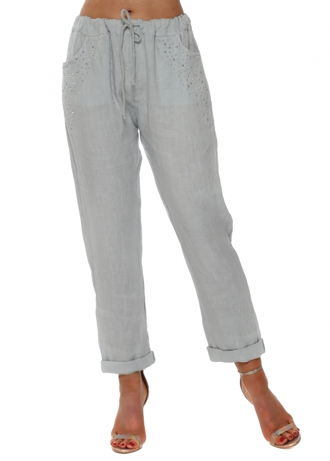 French Boutique Grey Linen Silver Studded Pocket Trousers