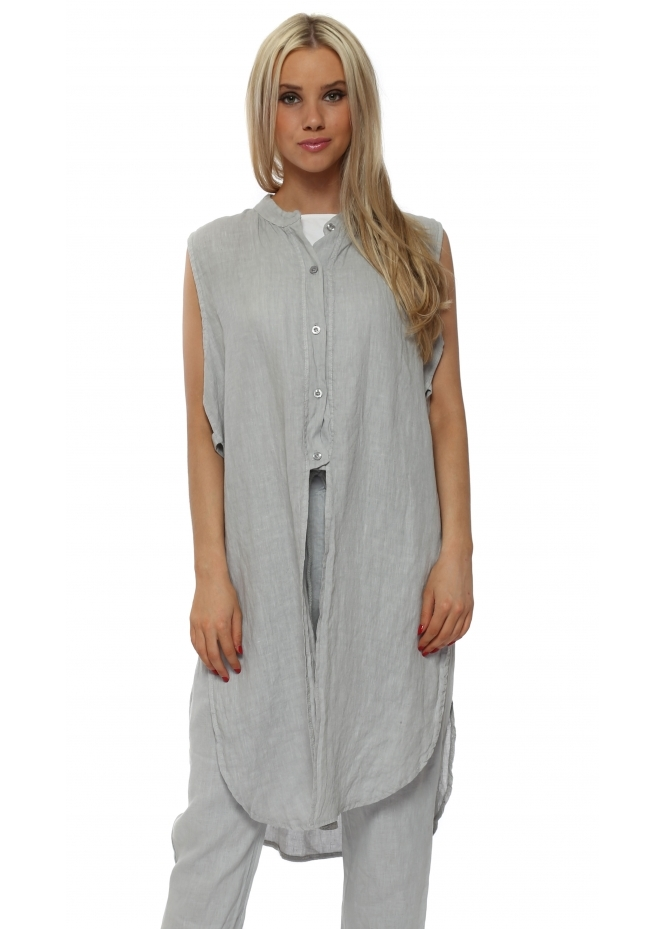 French Boutique Grey Linen Ladder Sleeveless Shirt