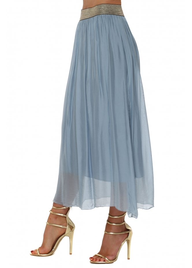 French Boutique Blue Silk Maxi Skirt With Shimmer Waist