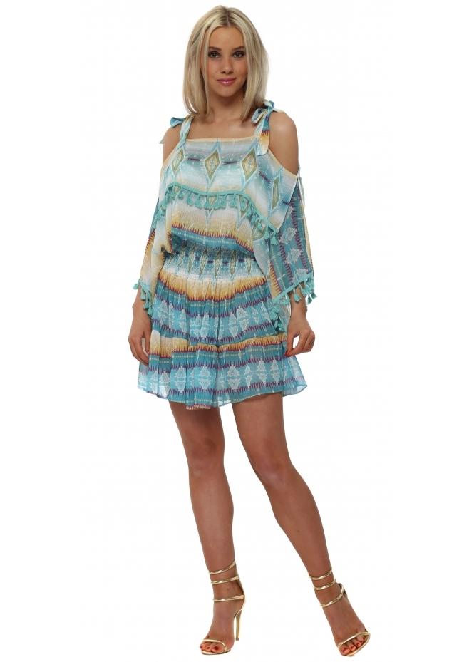 Briefly Aqua Aztec Cold Shoulder Pom Pom Dress