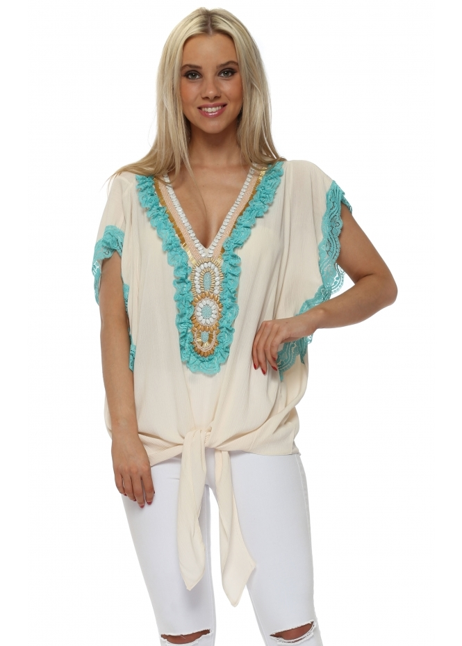 Briefly Cream Frilled Lace Beaded Tie Top