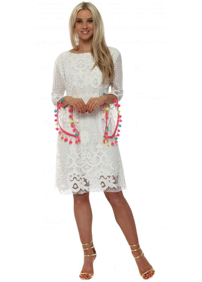 Laurie & Joe Scoop Back Rainbow Tassels & Chains Dress