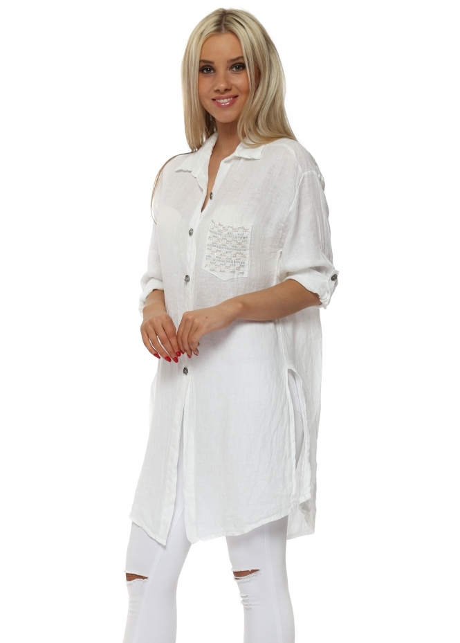 French Boutique White Linen Shirt With Sequinned Pocket