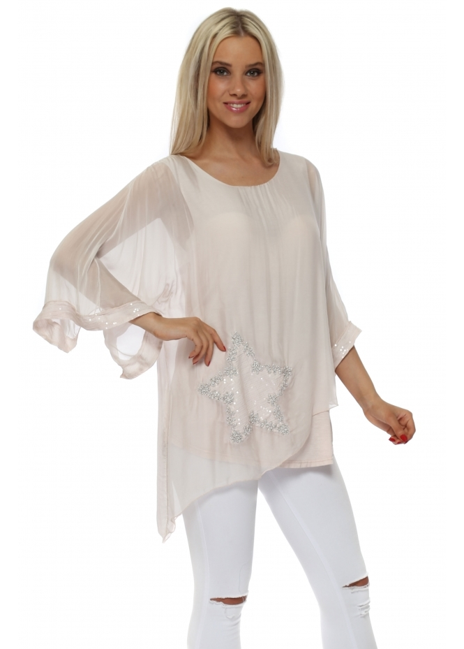 Italian Boutique Blush Pink Silk Sequinned Star Asymmetric Top