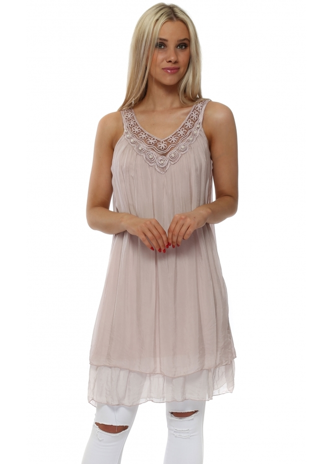 J&L Paris Dusky Pink Silk Layered Pearl Embroidered Tunic Vest